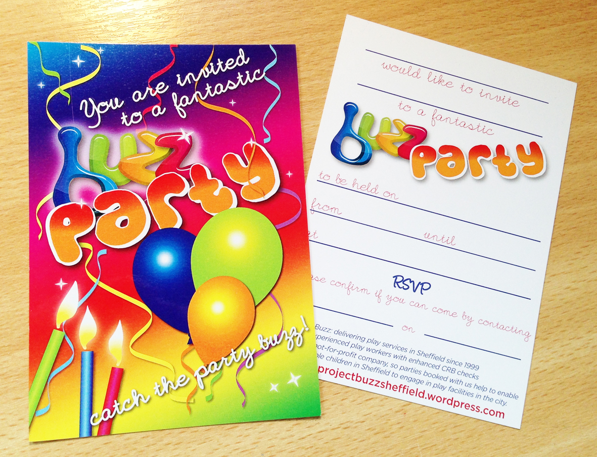 Buzz Party Invitations designed by The Smart Station sheffield