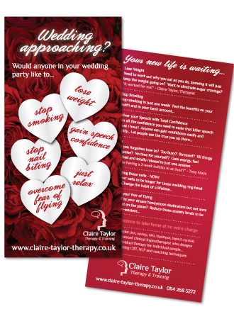 Claire Taylor Therapy wedding leaflet
